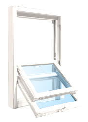Double hung window tilted